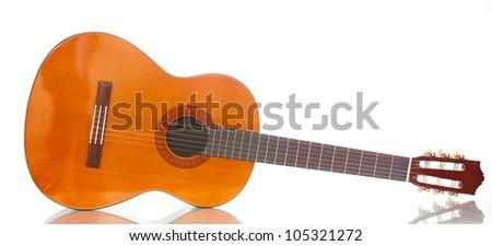 retro guitar isolated on white - stock photo