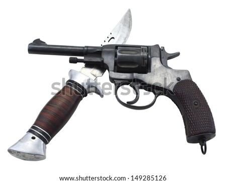 Retro gun and knife isolated - stock photo