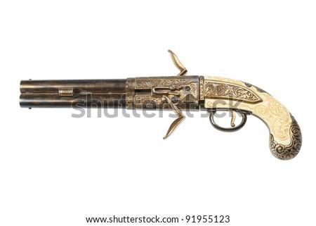 retro gun, pistol, isolated on white - stock photo