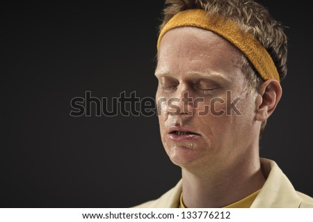 Retro Gym Coach Feeling Defeated - stock photo