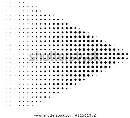 Retro halftone dots arrow over white background - stock photo