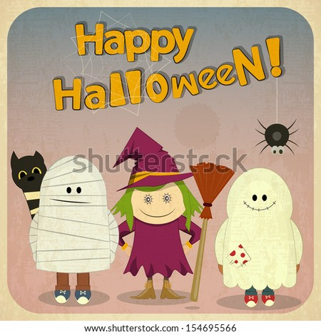Retro Halloween Card with witch, mummy, ghost in Vintage Style. Square format. Cartoon Halloween character. Hand Lettering. JPEG version - stock photo