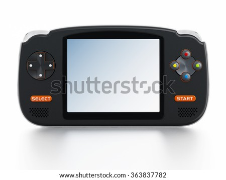 Retro handheld video game device isolated on white background - stock photo