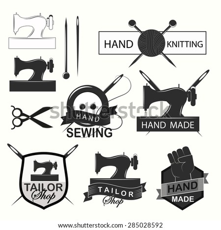 Retro Handmade, hand sewing and tailor shop logotypes set.(raster version) - stock photo