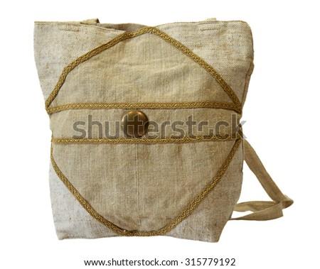 Retro handmade natural flax handbag - stock photo