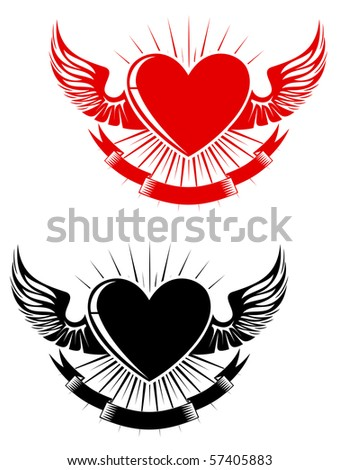 Retro heart with wings for tattoo design. Vector version also available in gallery - stock photo