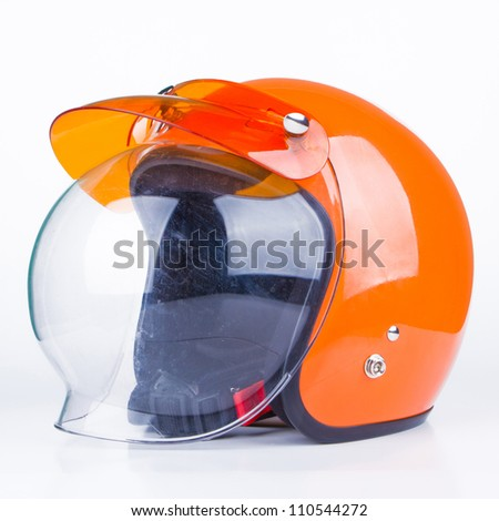 Retro helmet on a white background - stock photo