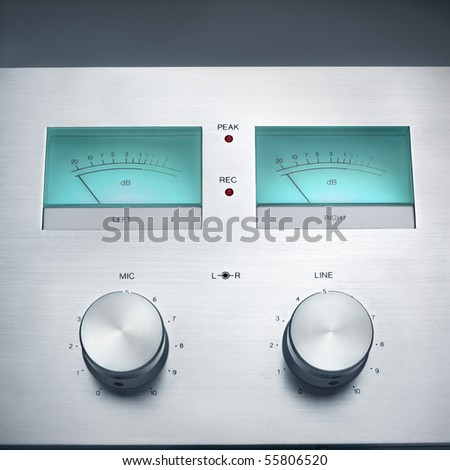 Retro Hi-Fi recorder controls. - stock photo