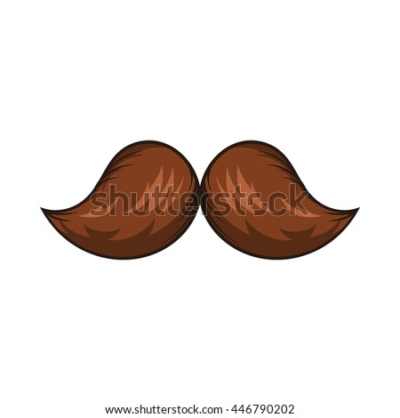 Retro hipster mustache icon in cartoon style on a white background - stock photo
