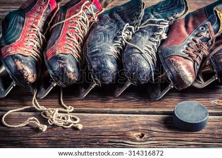Retro hockey skates - stock photo