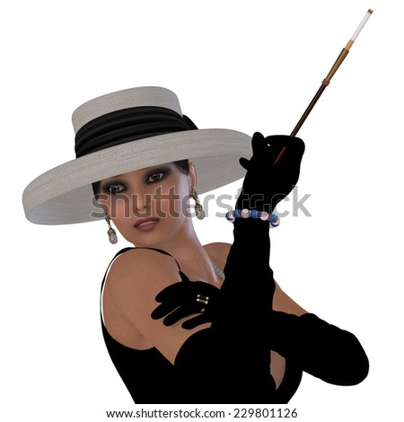 Retro Hollywood Glamour - A beautiful woman in a black dress, hat and gloves in the style of old Hollywood glamour. - stock photo