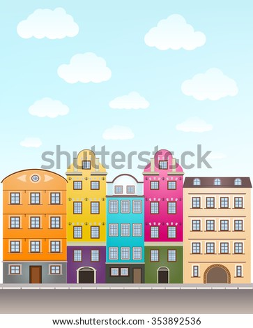 retro houses and sky with clouds. JPG version - stock photo