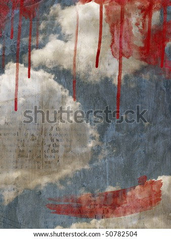 Retro image of cloudy sky. Background - vintage grunge newspaper