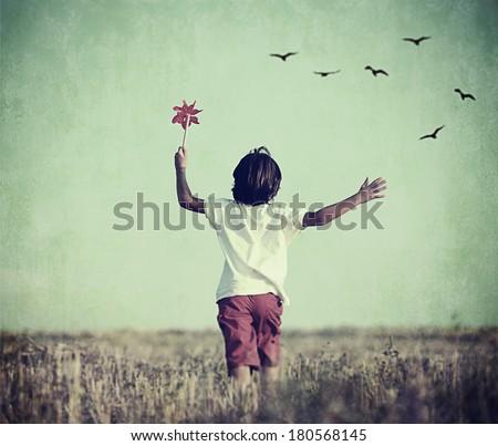 Retro image happy cheerful carefree kid stock photo for Cheerful nature