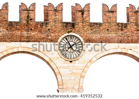 Retro Image Of The Vintage Clock And Meeting Point Of Verona Center / clock with roman numerals attached to the bridge / bridge with roman numerals clock hanging - stock photo