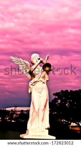 retro image - Stone Angels calling to Heaven  - stock photo