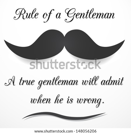 Retro, inspirational meme - rule of a gentleman. - stock photo