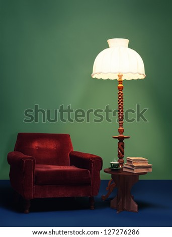 retro interior home decoration with vibrant colors and antique furniture - stock photo