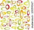 Retro interlocking circles in citrus colors - stock vector