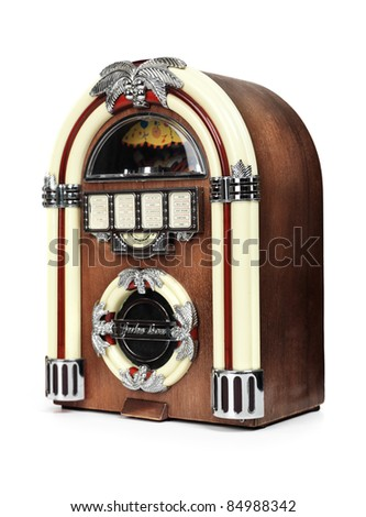 Retro juke box radio isolated on white background - stock photo