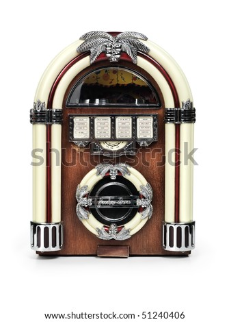 Retro juke box radio isolated on white background with clipping path - stock photo