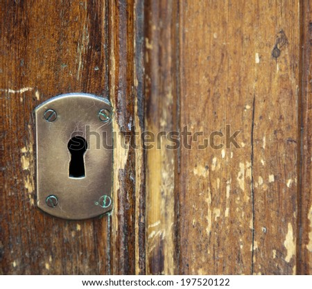 retro keyhole on a wooden door