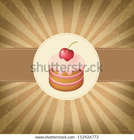 Retro Label With Cupcake With Vintage Background - stock photo