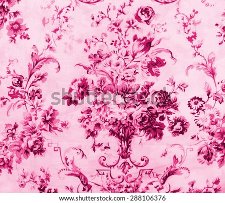 Retro Lace Floral Seamless Pattern on Pink Fabric Background - stock photo