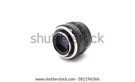 Retro Lens on white background - stock photo