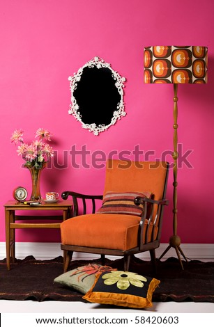 retro living room - stock photo