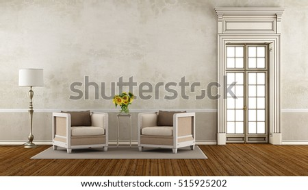 Retro living room with two armchair and high window - 3d rendering