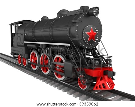 Retro locomotive isolated on white