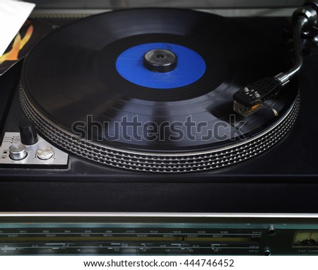 Retro looking  vinyl stereo player, selective focus closeup - stock photo
