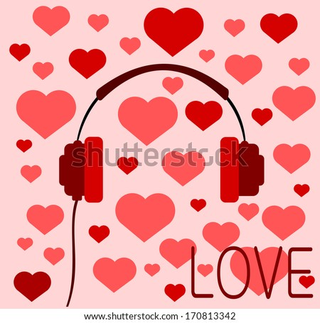 retro love headphones with hearts - stock photo