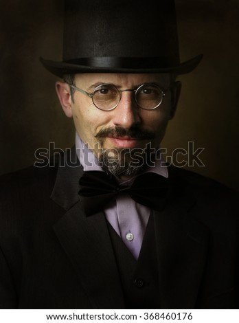 Retro man portrait with cylinder - stock photo