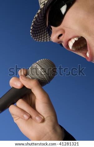 Retro man singing loud - stock photo