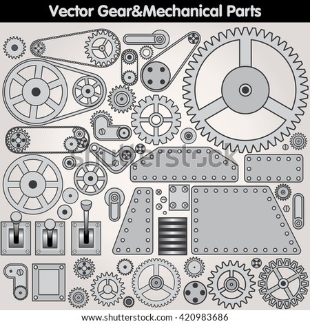 Retro Mechanical Parts - Various Gears, Levers, Arms. Design Elements Kit - stock photo