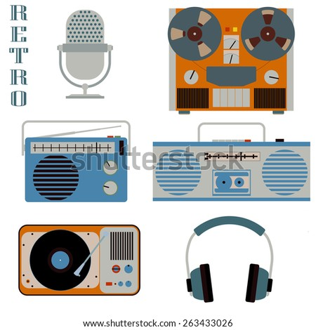 Retro media technology isolated on white icons. Microphone, headphones, radio, gramophone, reel-to-reel tape recorder, flat style elements - stock photo