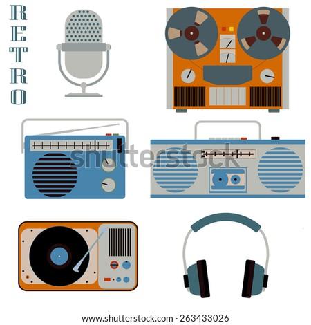 Retro media technology isolated on white icons. Microphone, headphones, radio, gramophone, reel-to-reel tape recorder, flat style elements - stock photo
