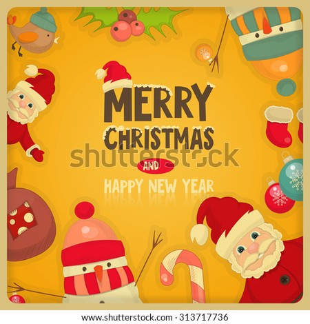 Retro Merry Christmas and New Years Card with Santa Claus, Snowman and Christmas Frame.  - stock photo