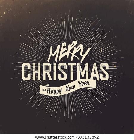 Retro Merry Christmas Card Design. Raster version. - stock photo