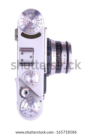 Retro metal camera. Isolated on white background. - stock photo
