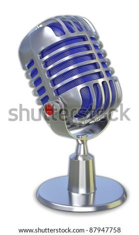 retro microphone 3d - stock photo