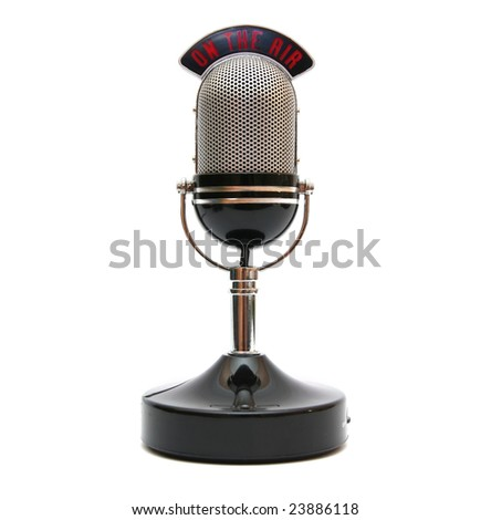 Retro microphone isolated on white.