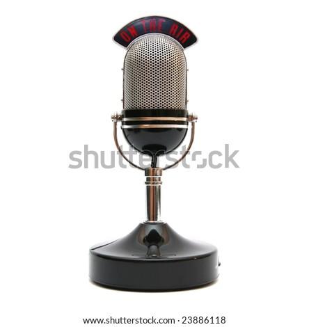 Retro microphone isolated on white. - stock photo