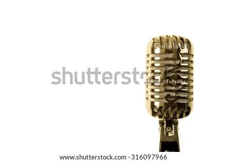 Retro microphone isolated on white - stock photo