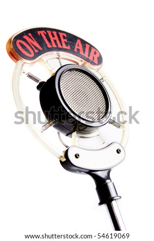 retro microphone isolated on white - stock photo
