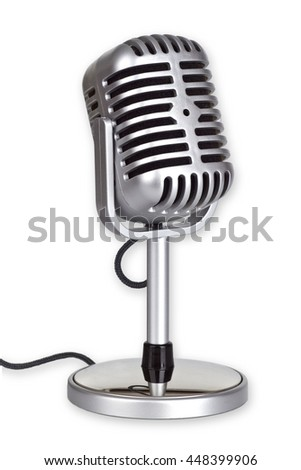 Retro Microphone isolated on white background_This is no SHURE Microphone - stock photo