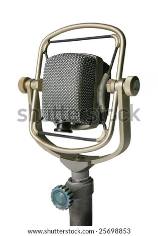 Retro microphone on stand, isolated on white - stock photo