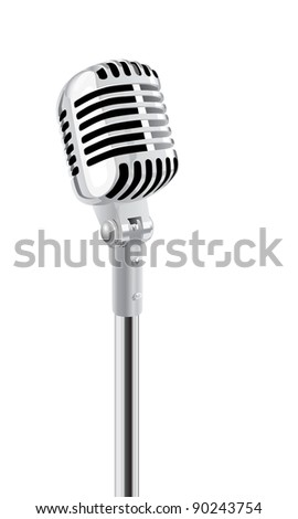 Retro Microphone On Stand Isolated Over White - stock photo